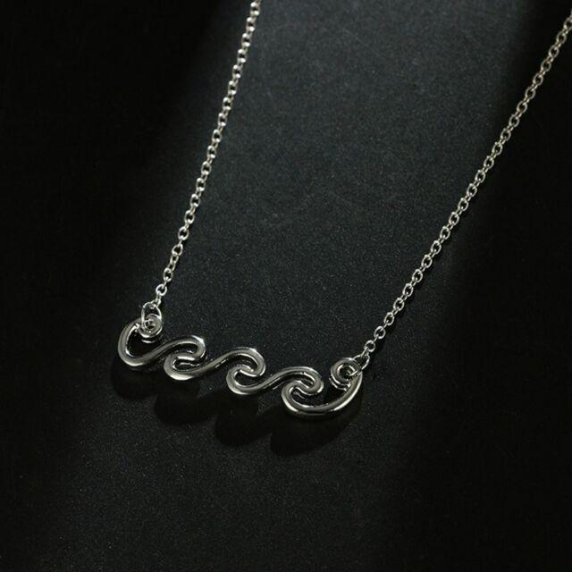 Boho Alloy Long Chain Clavicle Chain Wave Pendant Necklace Geometric Choker