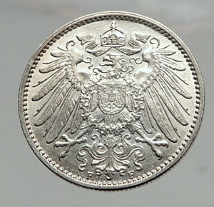 1915-WILHELM-II-of-GERMANY-1-Mark-Antique-German-Empire-Silver-Coin-Eagle-i64595