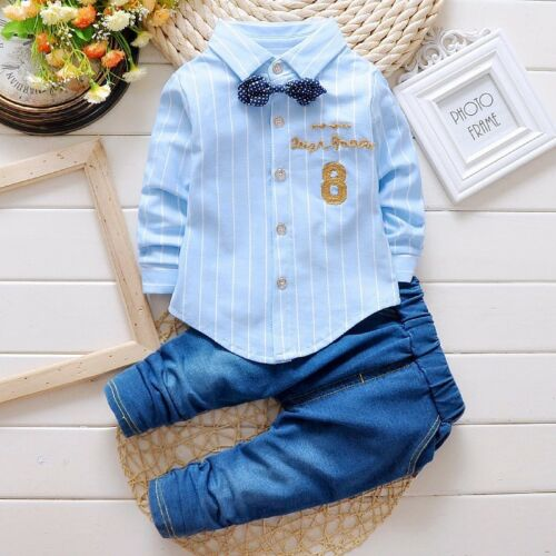 2pcs baby boys clothes shirt/& jeans baby boys party daily Outfits tie gentleman