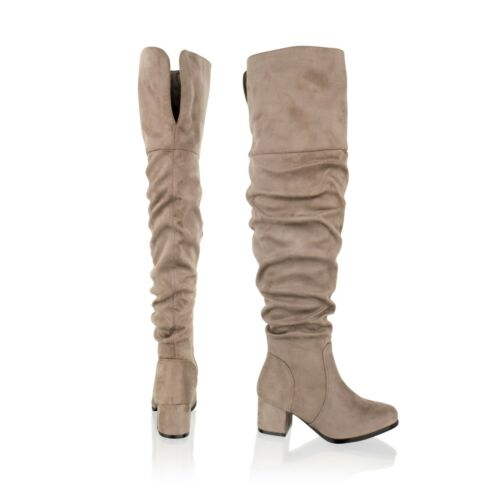New Womens Ladies Thigh High Over The Knee Block Mid Heel Fashion Boots Shoes