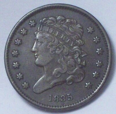 1835 HALF CENT Classic Head RARE Strong Detail Authentic Colonial HC Coin