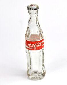 Vintage Coca-Cola mini Bottle 8 cm Miniatur Glas Flasche Coke Label USA + Indien