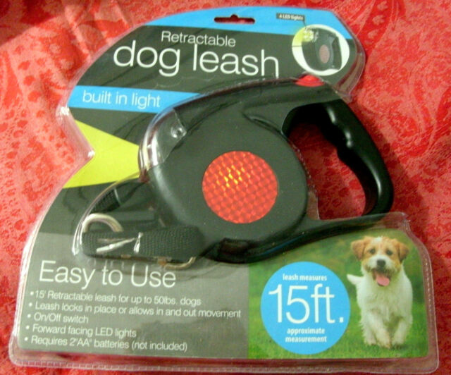 Retractable Dog Leash 4 LED Lights Pet Male Female Resin 15 feet Up To 50 lbs