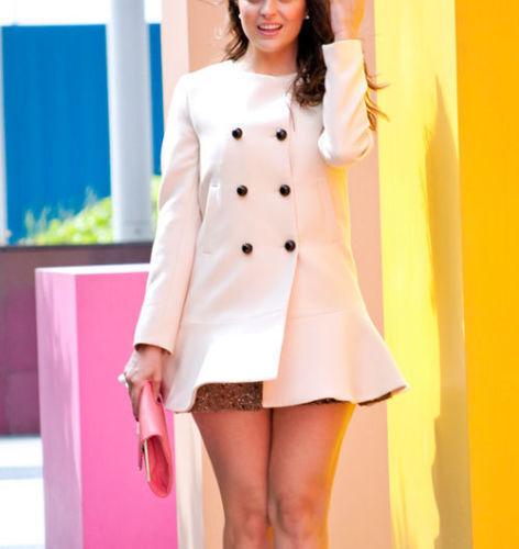 Famosos Frill Zara Medio Peplum M Nude Bloggers 5274 Coat