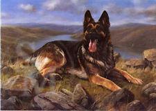 German Shepherd Dog Painting Blank Birthday Fathers Day Card