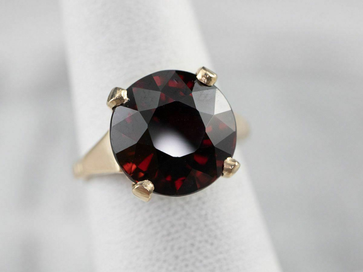 Garnet Gold Solitaire Ring - image 7