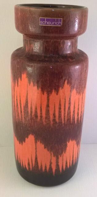 West German Pottery Vase Fat Lava Scheurich Lora Retro Vtg Orange Red 517 30 60s