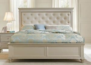 Image Is Loading Crystal Tufted Pearl White Upholstered Silver Finish King