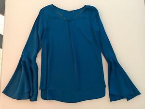 53b843e911d66c Image is loading Tahari-Shirt-Women-Peacock-Blue-Silk-Bell-Sleeve-
