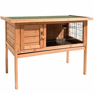 Pet-Rabbit-Hutch-Single-Wooden-Cage-Guinea-Pig-Bunny-Animal-House-Shelter-Run