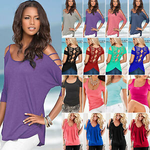 US-Women-Cold-Shoulder-T-Shirt-Tops-Short-Sleeve-Summer-Casual-Tee-Shirts-Blouse