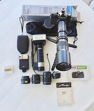 PENTAX MV, SIXTAR, METZ 45CT1, BRAUN, 28mm + 50mm + 135 mm + 500 mm + X2 focal