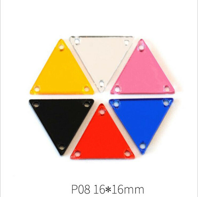50pcs Polygon Acrylic Mirror Sew On Diamante Rhinestone for Clothing Decor
