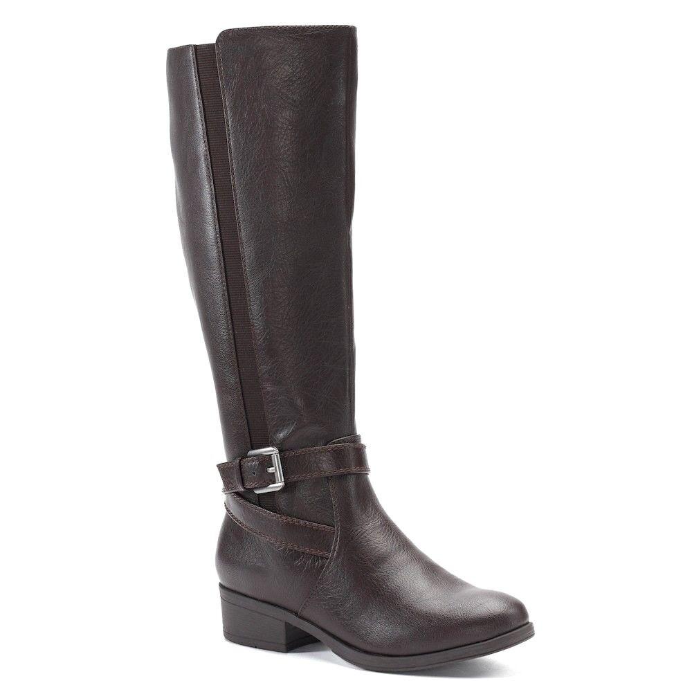 Damenschuhe CROFT & BARROW Wide Calf Tall Riding Boot Knee High BROWN  10 Wide Width