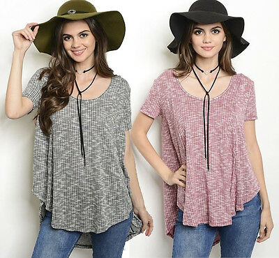 Slouchy Pullover Scoop Neck Short Sleeve Ribbed Knit Oversized Tunic Shirt Top
