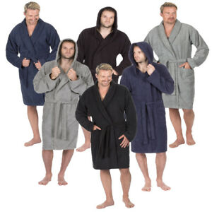 Mens Luxury Cotton Terry Towelling Soft Bath Spa Robe Dressing Gown ... e6fa0f348