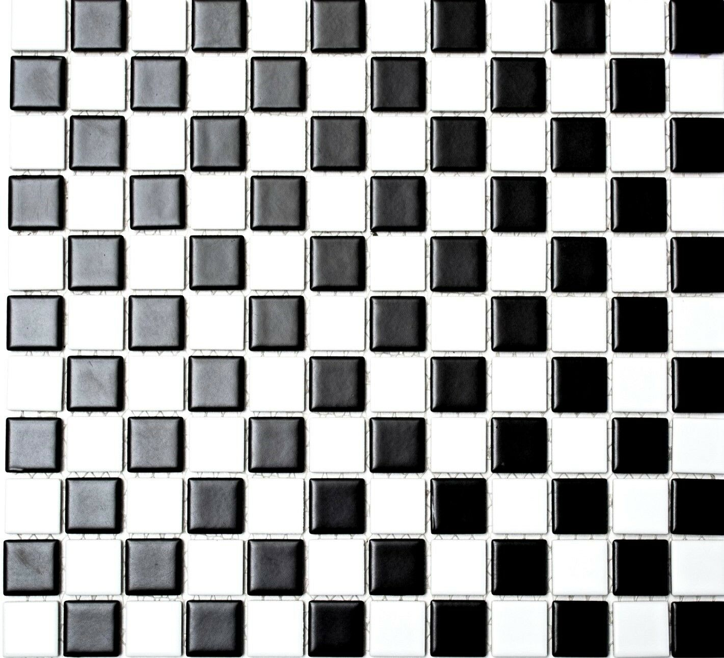 Mosaik Fliese Keramik schachbrett schwarz weiß matt Küche  18-0305_f  10Matten