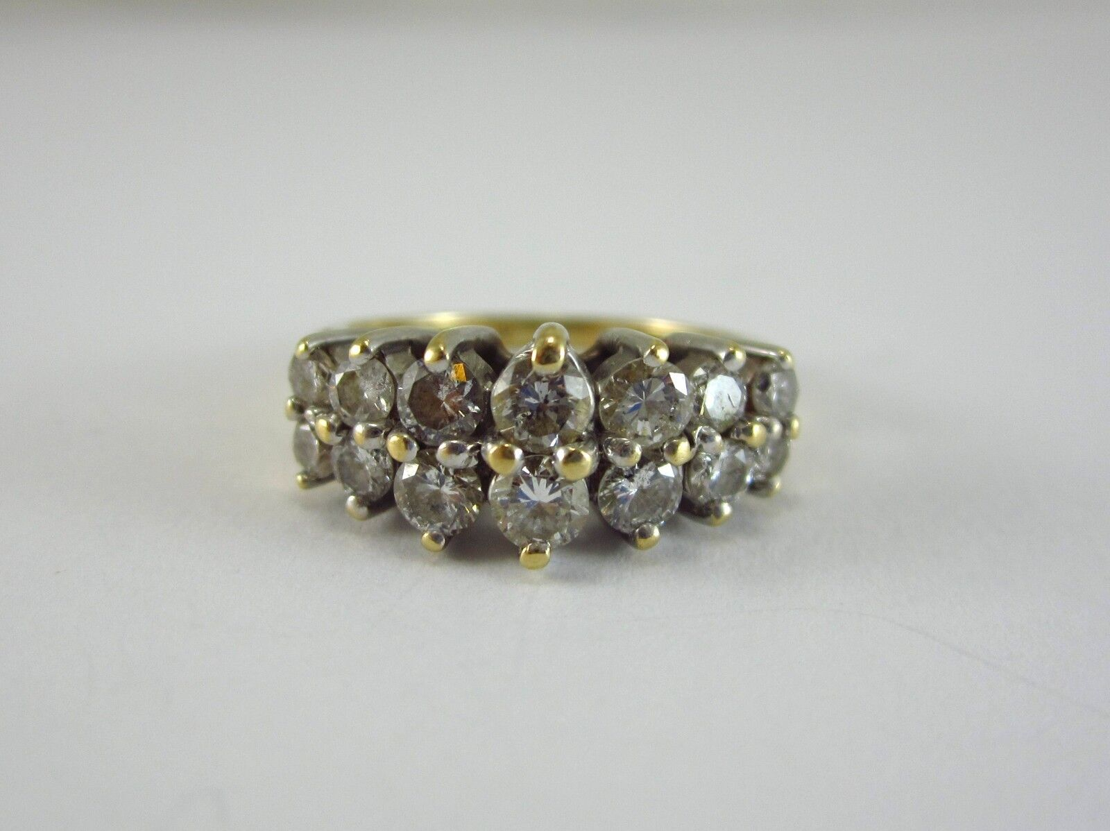 BEAUTIFUL LADIES MAGIC-GLO 14K gold DIAMOND CLUSTER STYLE RING 3.7G 0.94CT