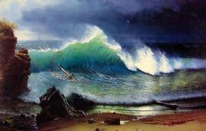 Handpainted-Oil-painting-seascape-The-Shore-of-the-Turquoise-Sea-amp-waves-24-034-x36-034