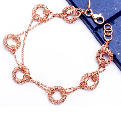 ROSE GOLD PLATED FANCY CIRCLE .925 Sterling Silver Bracelet 7-7.5 MADE IN ITALY