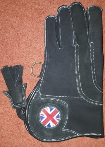 Dim Black 3 Layer, Falconry Glove UK Logo Triple Layer Nubuck Leather 12 Inch