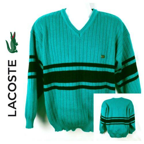 Chemise Lacoste Vneck Knit Croc Teal & Navy Blue S
