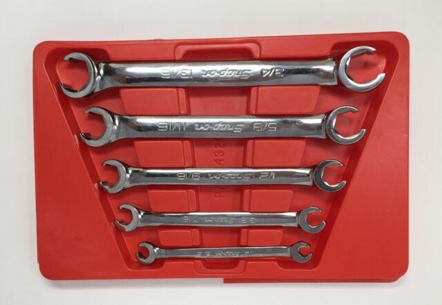 5pcs SAE 6 Point Flare Nut Wrench Set w//Wrench Organizer Case