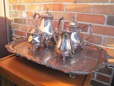 Leonard Silver Plate Tea Pot Sugar Creamer w/ Tray Platter Set