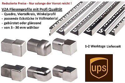 10x Quadro Edelstahlschiene Fliesenprofil Fliesenschiene L250cm 10mm glänzend