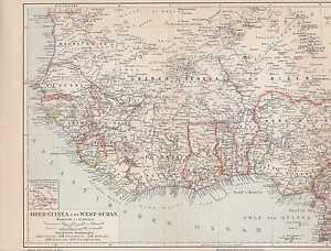 Karte Afrika Kolonien.Details Zu Afrika Kolonien Guinea Togo Nigeria Kamerun Karte Von 1905 Sierra Leone Liberia