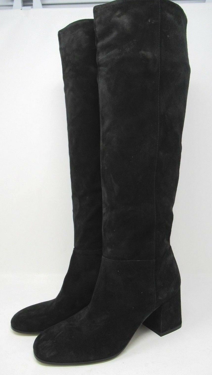 Via Spiga Women's  Nigel  Suede Block Heel Boots Black - 7 NEW