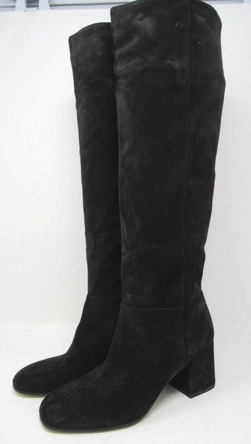 Via Spiga Women's  Nigel  Suede Block Heel Boots Black - 6 NEW