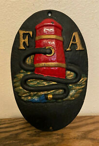 Vintage-Cast-Iron-FA-Fire-Assoc-Insurance-Mark-Advertising-Wall-Sign-Plaque