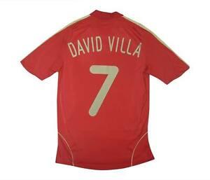 SPAGNA 2007-09 ORIGINALE Maglietta DAVID VILLA #7 (eccellente) S Soccer Jersey