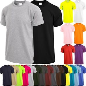Mens-Crew-Neck-T-SHIRTS-ACTIVE-Solid-Tee-Short-Sleeve-Comfort-Summer-Casual
