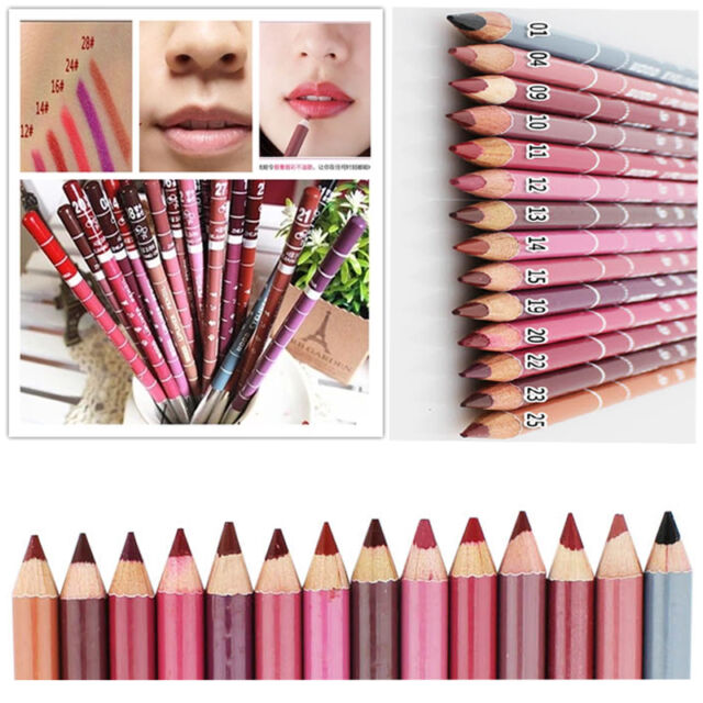 Girl's 12 PCS Professional Lipliner Waterproof Lip Liner Pencil 15CM 12 Colors