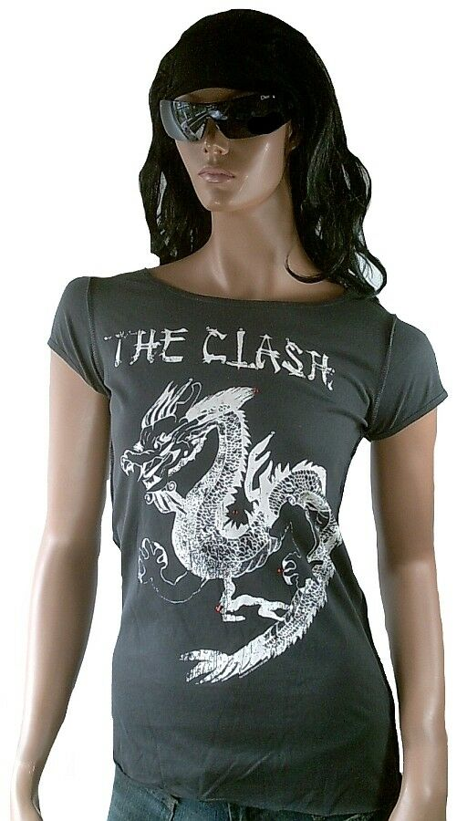 AMPLIFIED THE CLASH Dragon Tattoo Strass T-Shirt g.S