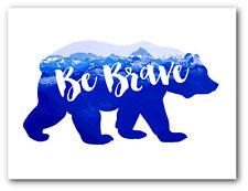 Be Brave Art, Mountain Bear Nursery Art, 8 x 10 Inches, Unframed