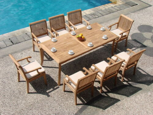"""DSSK Grade-A Teak Wood 9Pc Dining 83"""" Rectangle Table 8 Arm Chair Set Outdoor"""