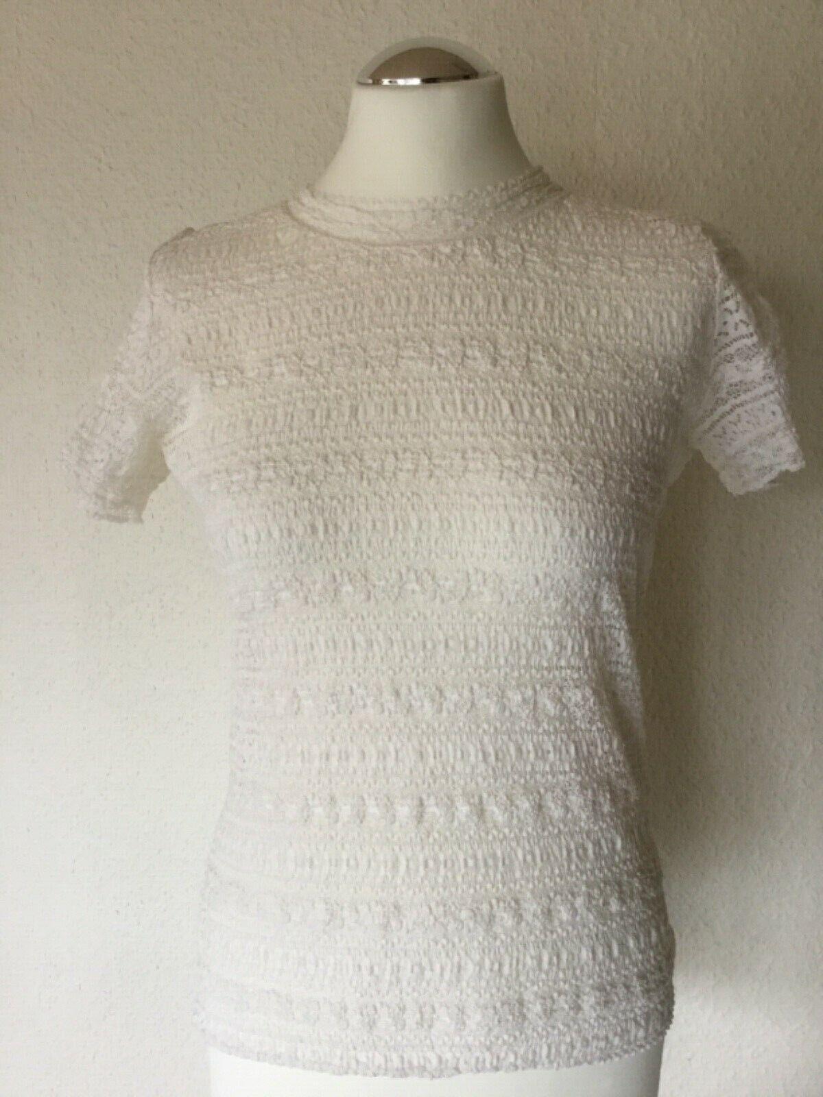 MARC CAIN Spitzen-Shirt, T-Shirt Größe 38, N3, panna creme