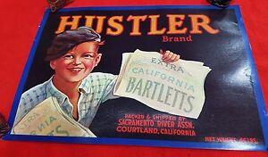 US-GENUINE-CRATE-BOX-JAR-LABEL-HUSTLER-BRAND-CALIFORNIA