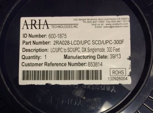 Aria Technologies 600-1875 DX Singlemode Fiber Optic LC//UPC to SC//UPC 300 Feet