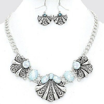 Elegant Silver Blue Opal Accent Beads Seashell Costume Fashion Necklace Set