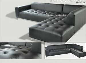 Image Is Loading 2 Pieces Set Modern Contemporary Black Leather Sectional