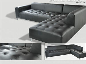 Details about 2 pieces set Modern contemporary black Leather Sectional Sofa  + chaise #1707