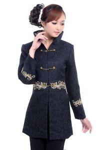 Fit N 3xl cotone da Slim M in lunga cappotto donna ricamato da Giacca nero sera qBAwfTO