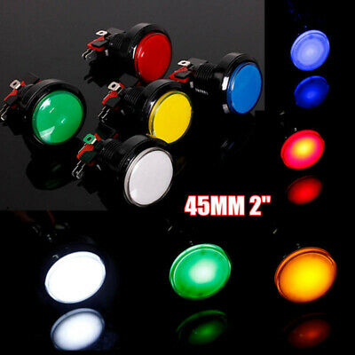 New 5V//12V LED Light Lamp 45MM Big Round Arcade Video Game Player Push Button