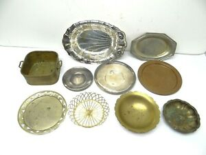 Vintage-Lot-Used-Metal-Brass-Silverplate-Copper-Wire-Federal-Sambonet-Trays-Bowl