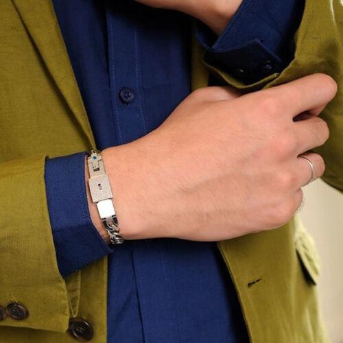 Acero brazalete de pulsera y clave Colgante Collar conjuntos Amor Regalos Par Titanio