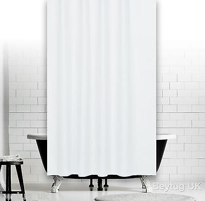 Fabric Extra Long Shower Curtain, White Black Red Orange Blue Green 180 x 200CM